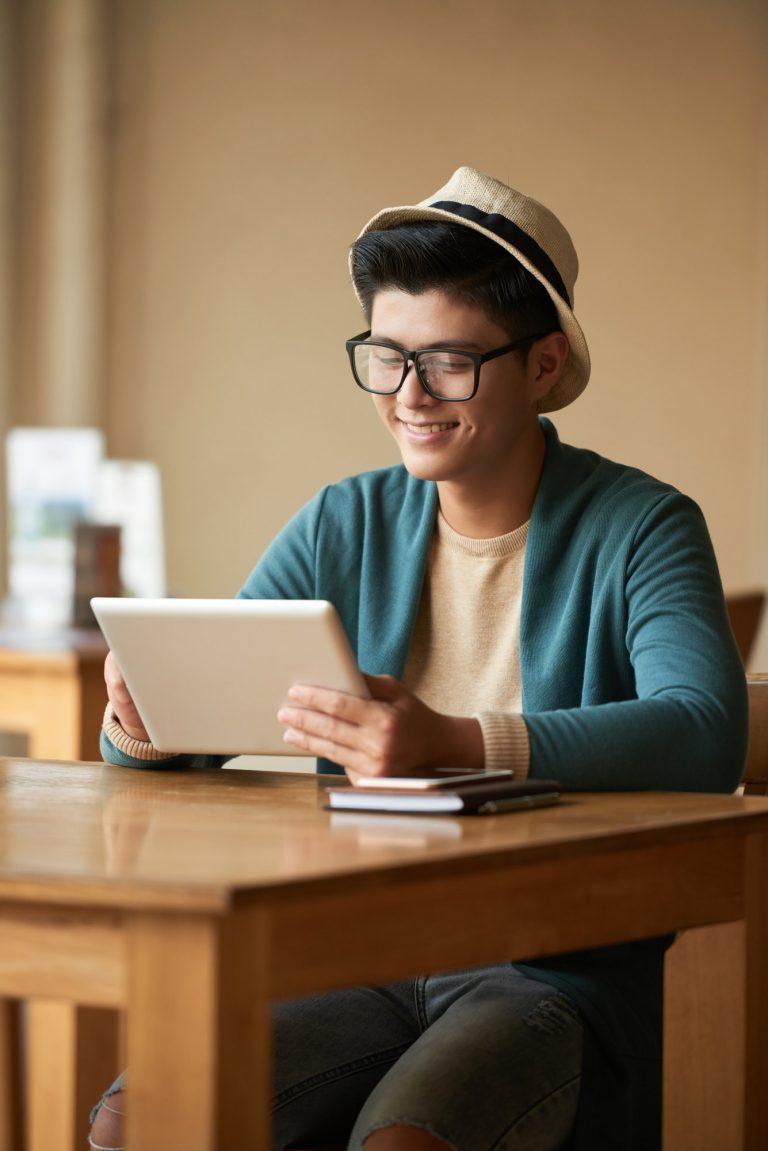 Watching videos on digital tablet